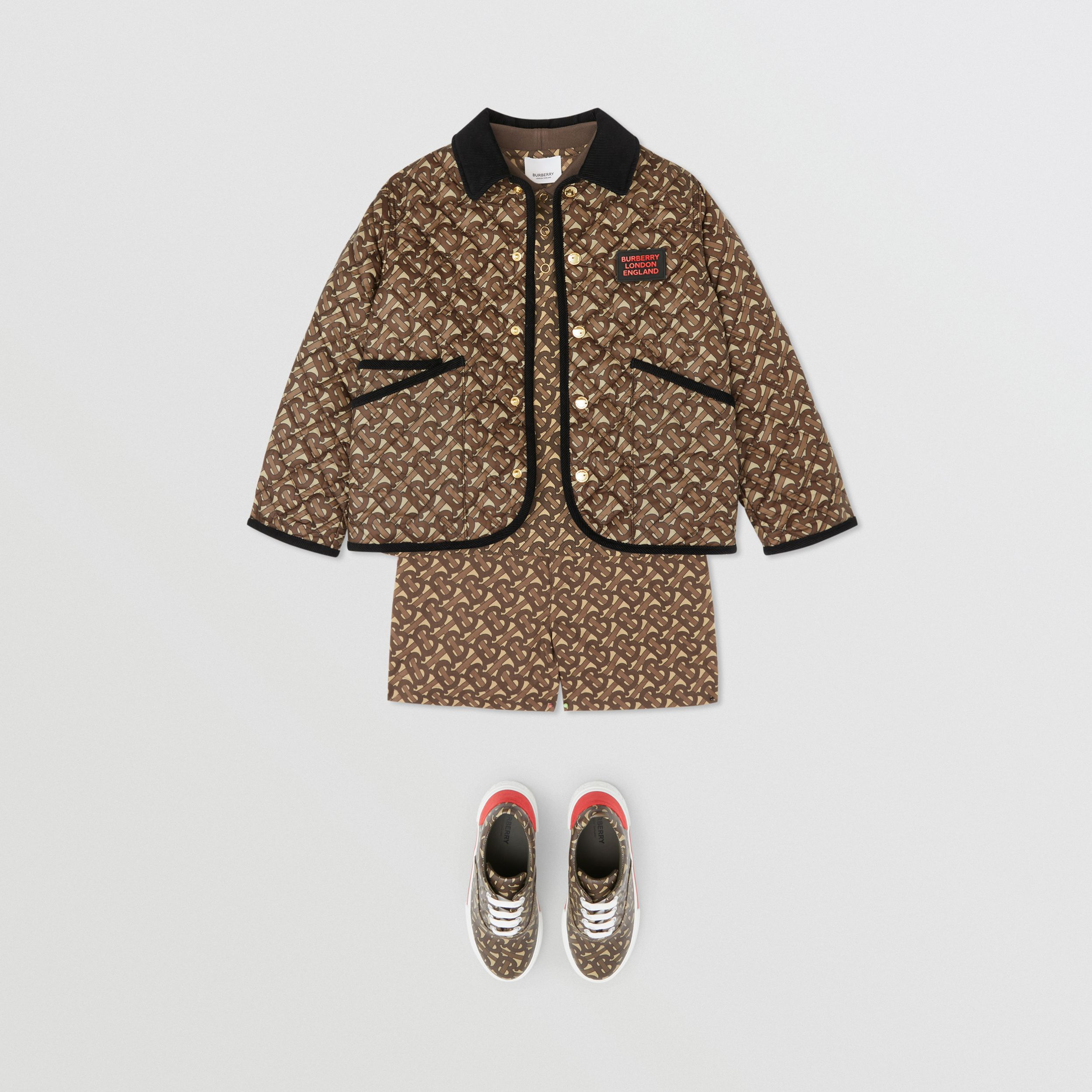 Monogram Print Diamond Quilted Jacket in Bridle Brown | Burberry - 3