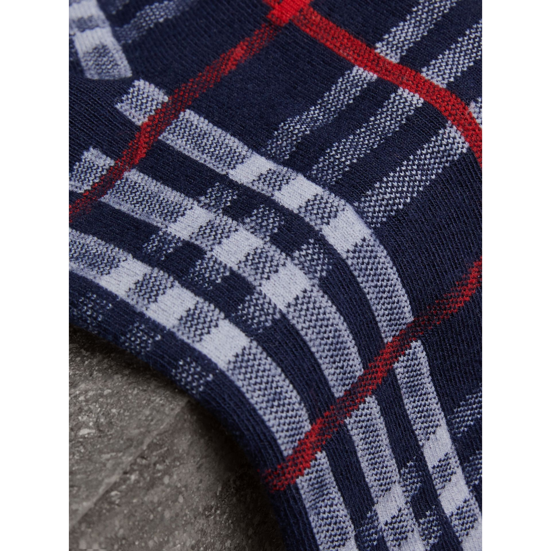 Vintage Check Cotton Blend Socks in Navy | Burberry - gallery image 1