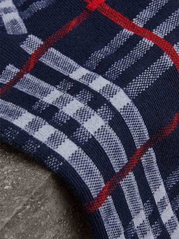 Vintage Check Cotton Blend Socks in Navy | Burberry Hong Kong - cell image 1