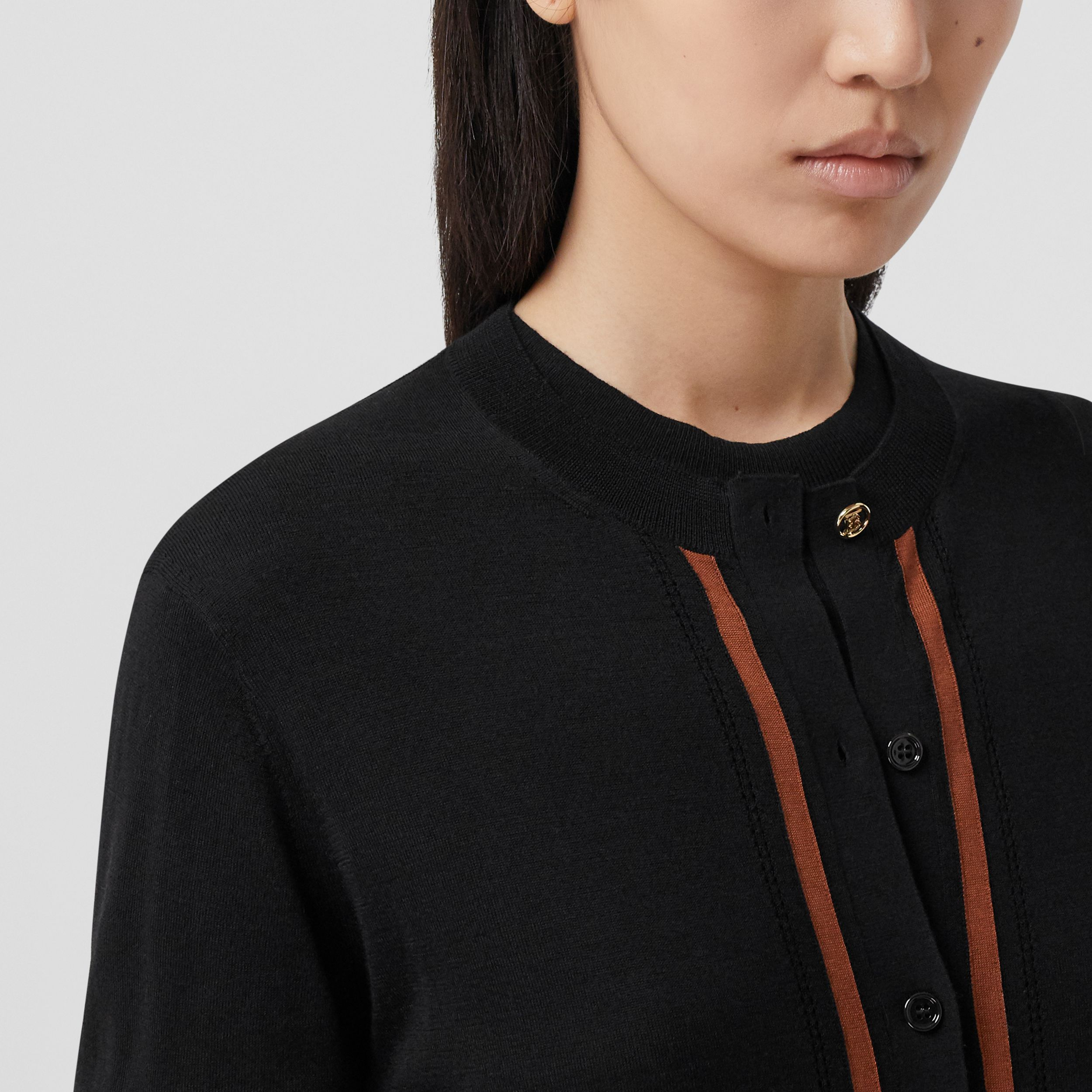 Monogram Motif Wool Silk Cashmere Cardigan in Black - Women | Burberry - 2