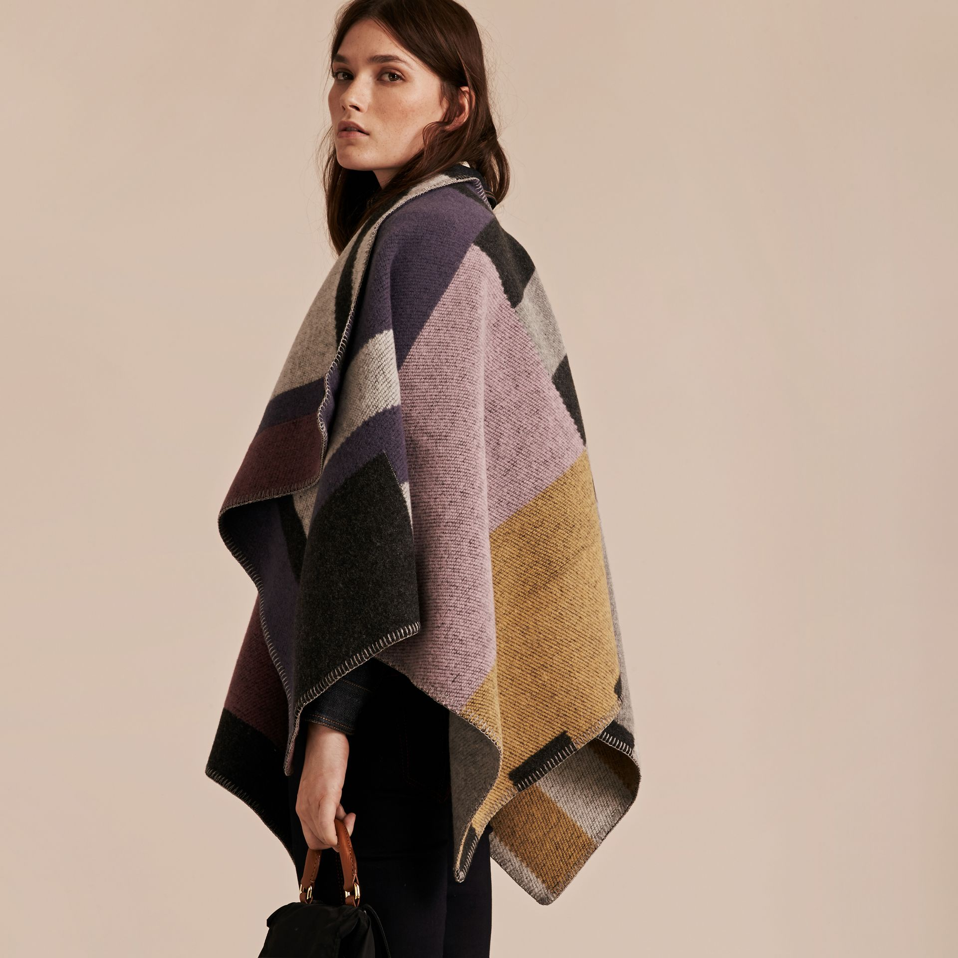 Mauve pink Check Wool and Cashmere Blanket Poncho - gallery image 3