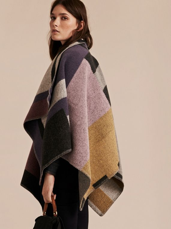 Mauve pink Check Wool and Cashmere Blanket Poncho - cell image 2