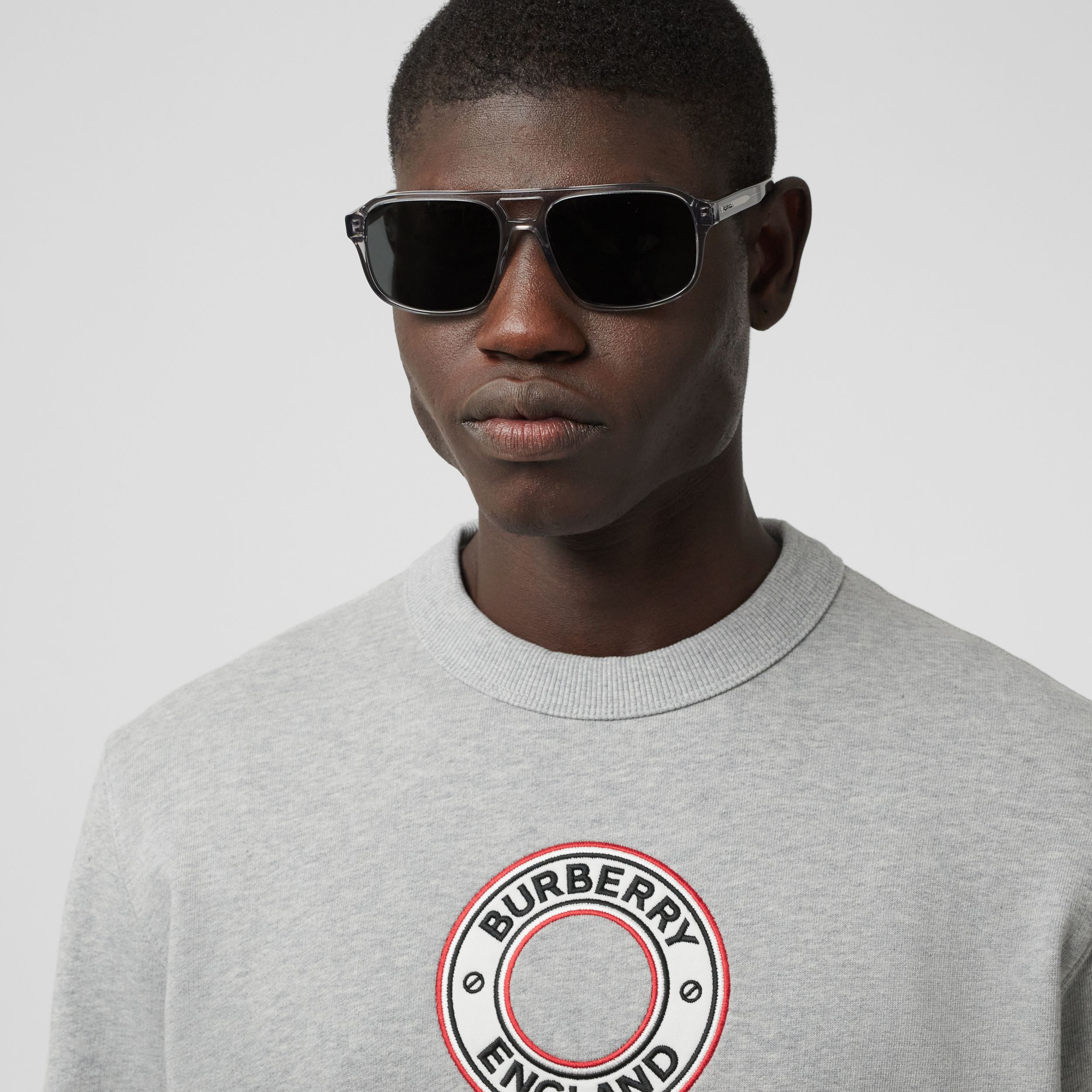 Logo Graphic Appliqué Cotton Sweatshirt in Pale Grey Melange - Men | Burberry - 2