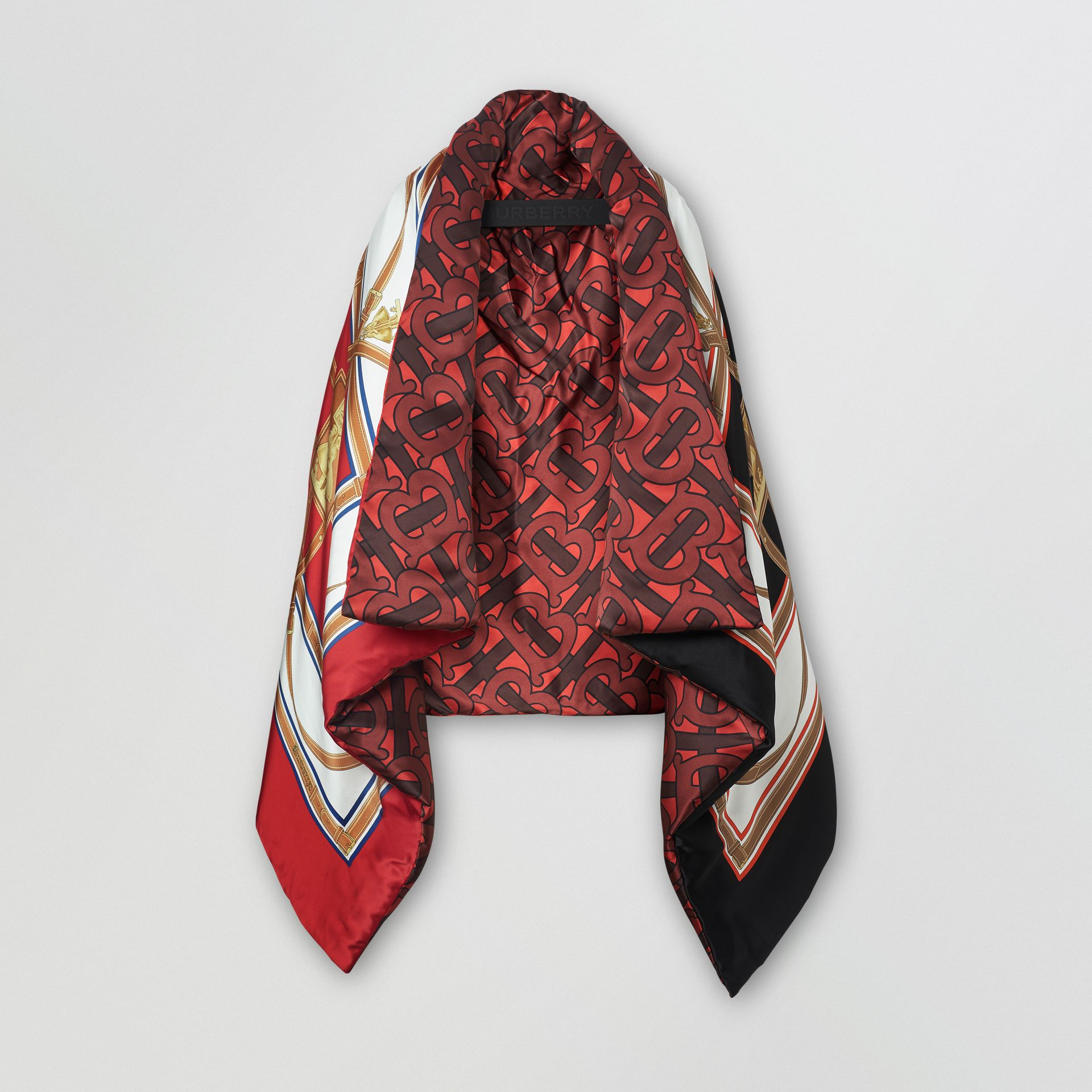 Archive Scarf Print Silk Satin Oversized Puffer Cape in Crimson - Women | Burberry Canada - gallery image 3