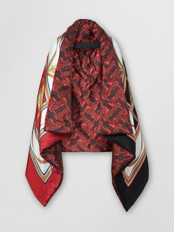 Archive Scarf Print Silk Satin Oversized Puffer Cape in Crimson - Women | Burberry - cell image 3