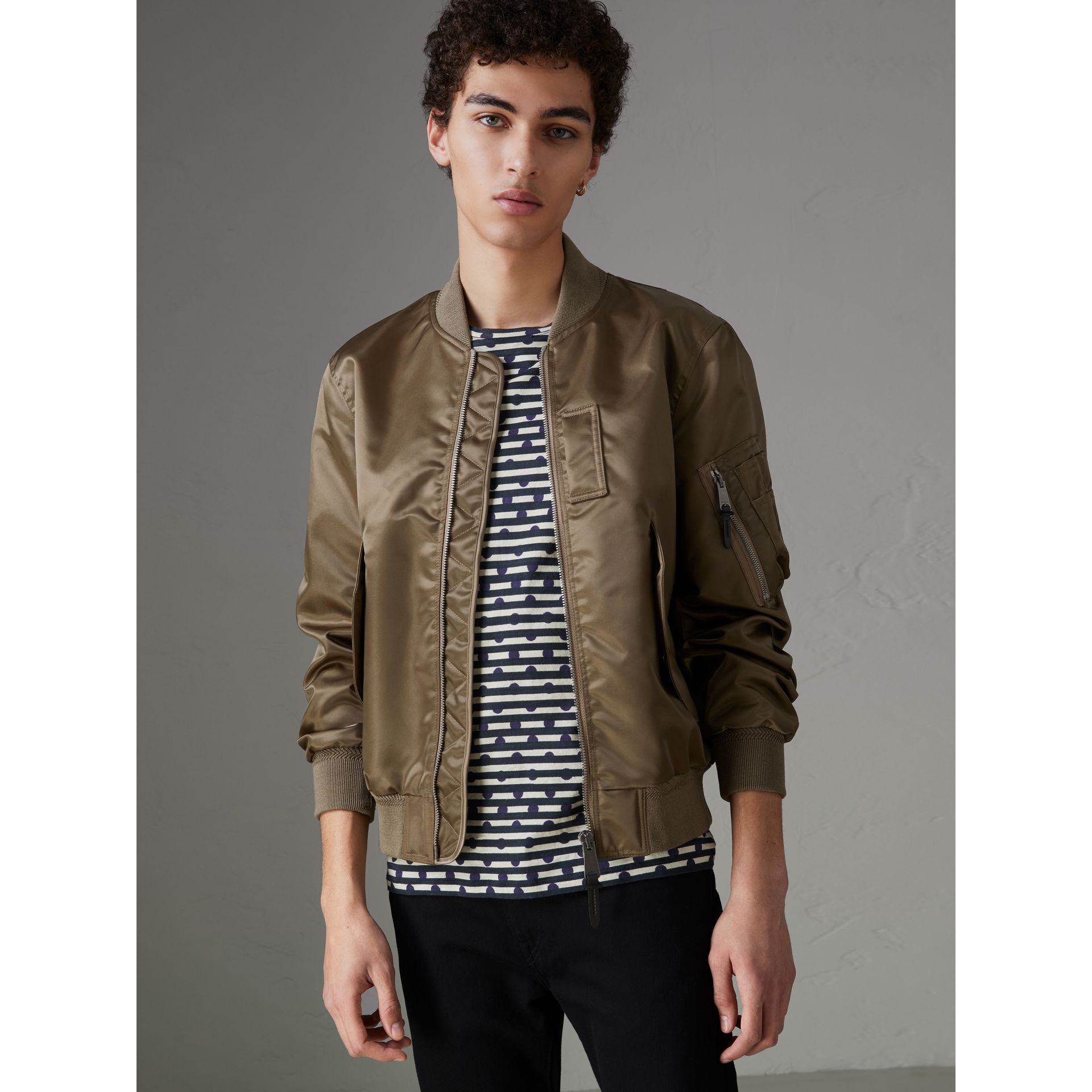 Satin Bomber Jacket in Dark Taupe - Men | Burberry - gallery image 0