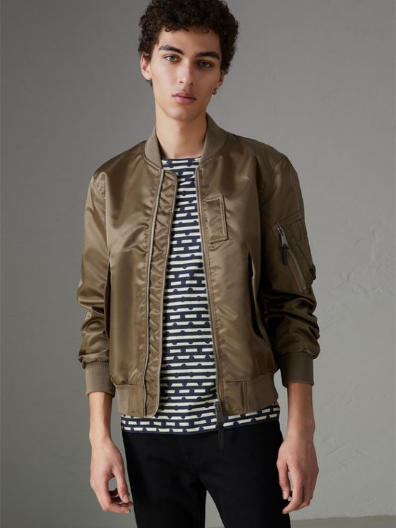 Satin Bomber Jacket in Dark Taupe