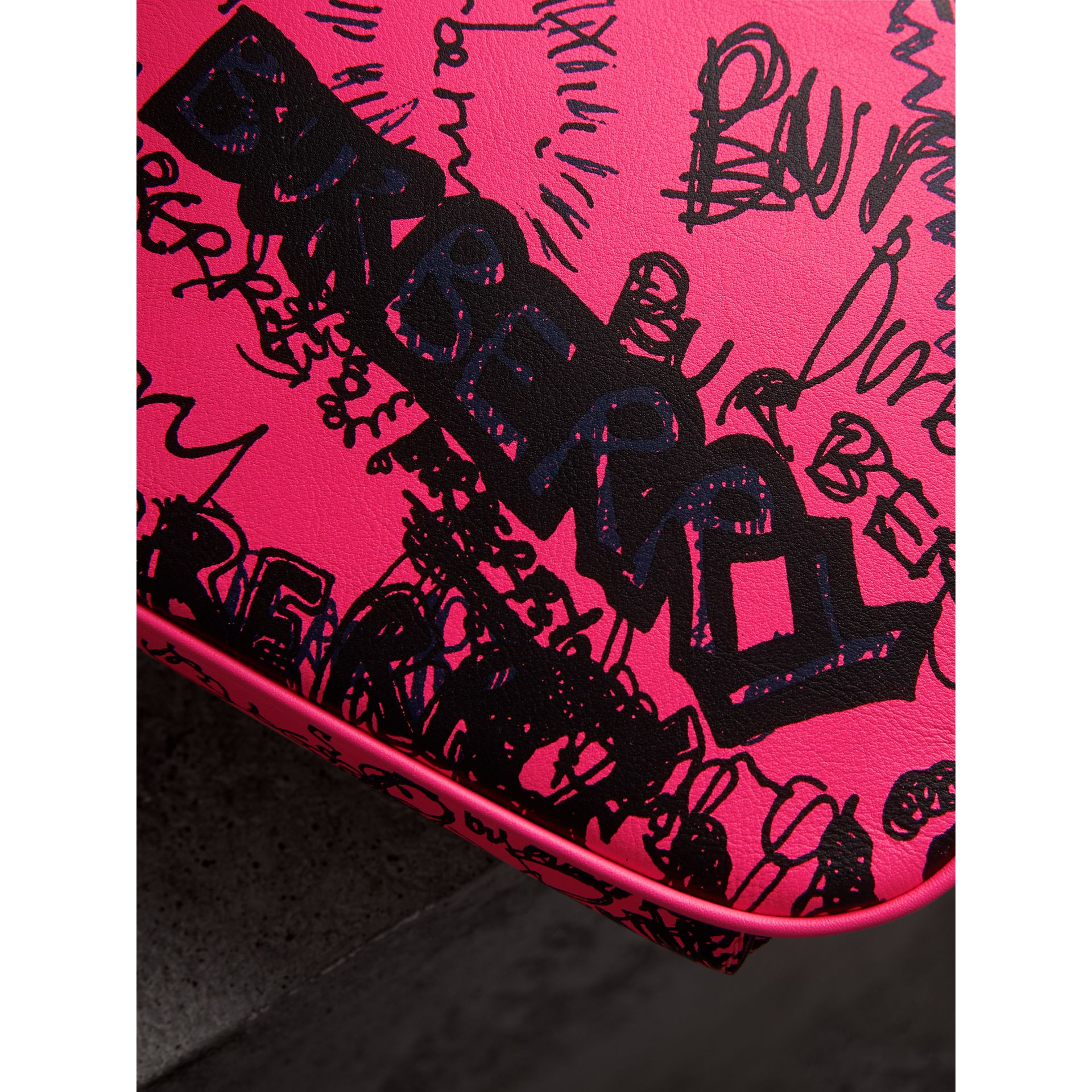 Small Doodle Print Leather Metal Frame Clutch Bag in Neon Pink - Women | Burberry - gallery image 1