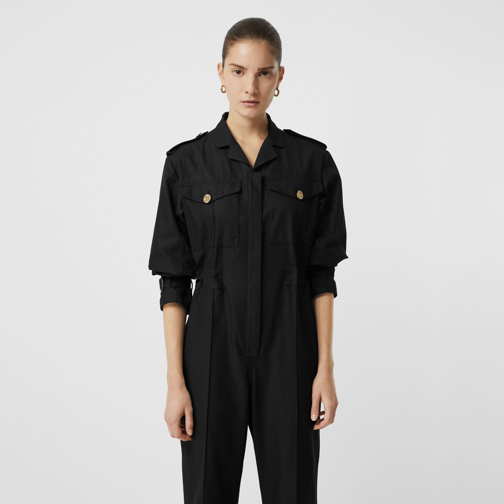 Cotton Gabardine Jumpsuit in Black - Women | Burberry United Kingdom - gallery image 1