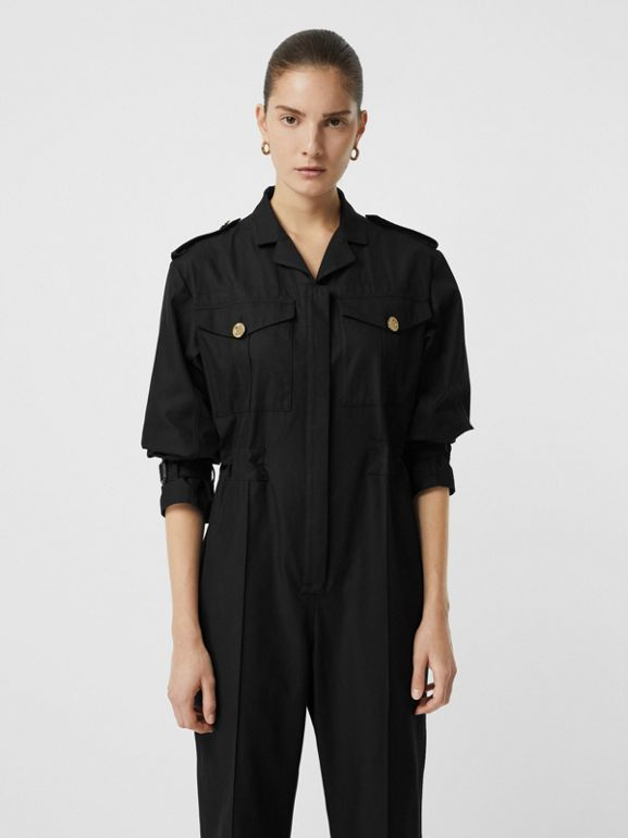 Cotton Gabardine Jumpsuit in Black - Women | Burberry United Kingdom - cell image 1