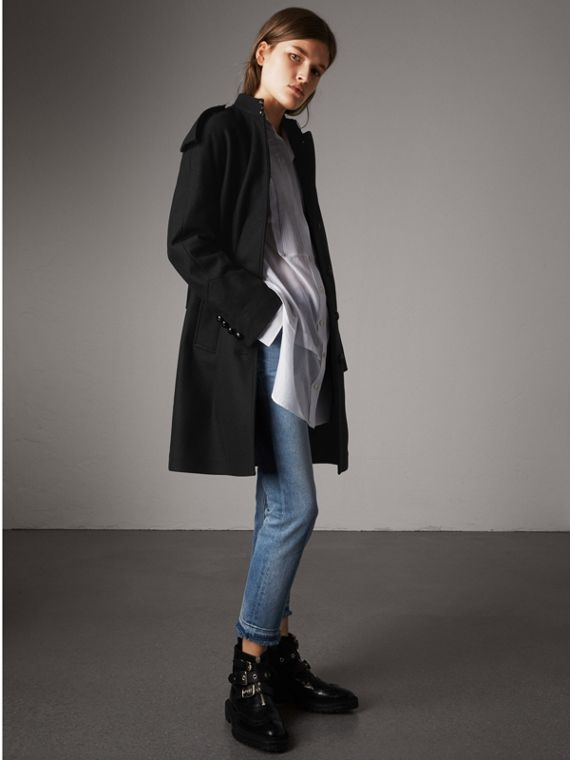 Collarless Wool Blend Coat in Black