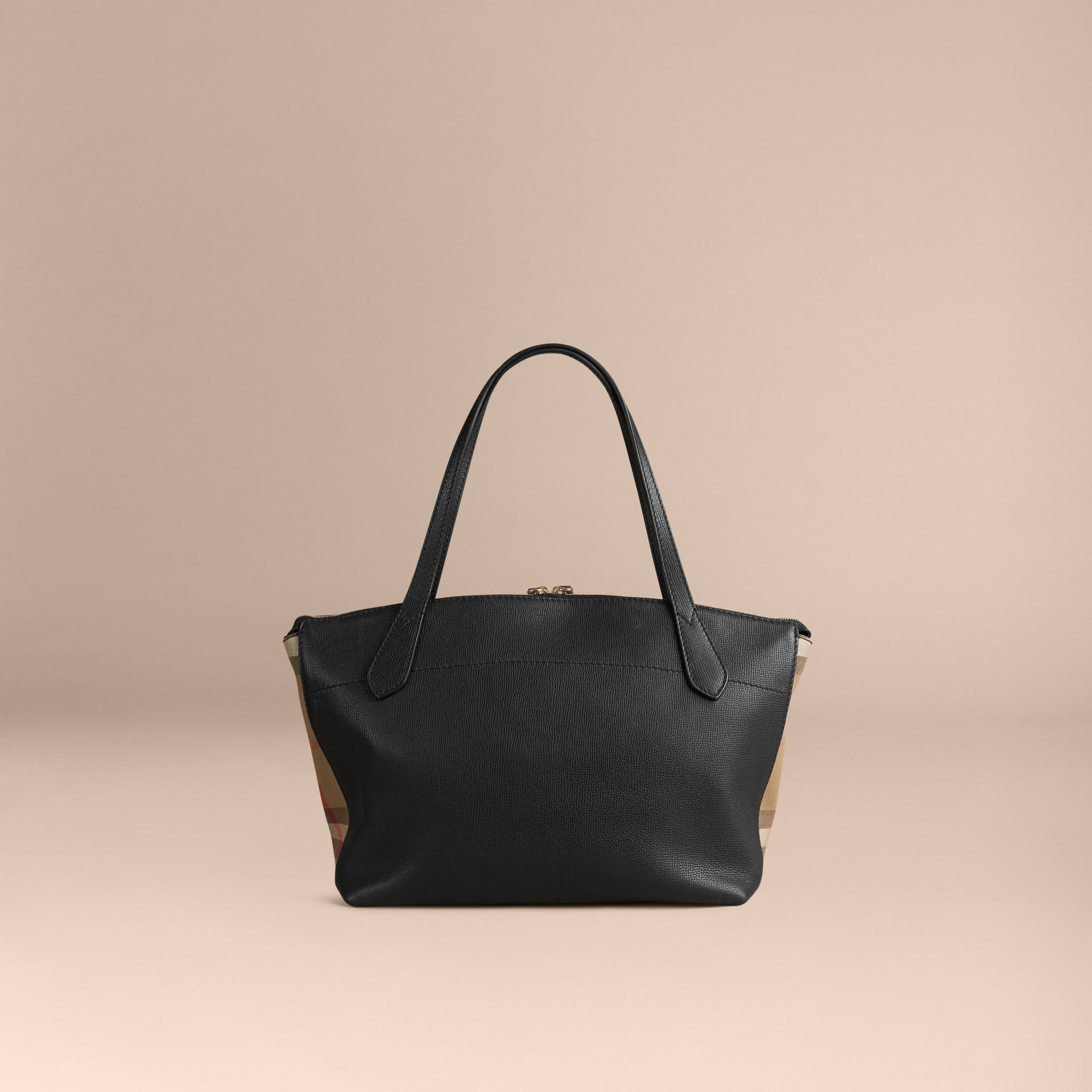 Medium Leather and House Check Tote Bag in Black - Women | Burberry - gallery image 4