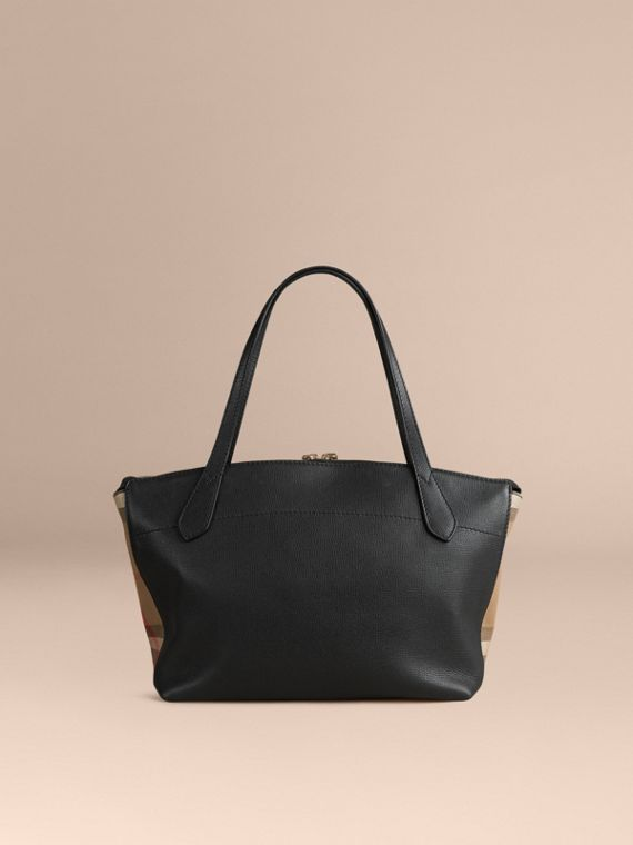 Medium Leather and House Check Tote Bag in Black - Women | Burberry - cell image 3