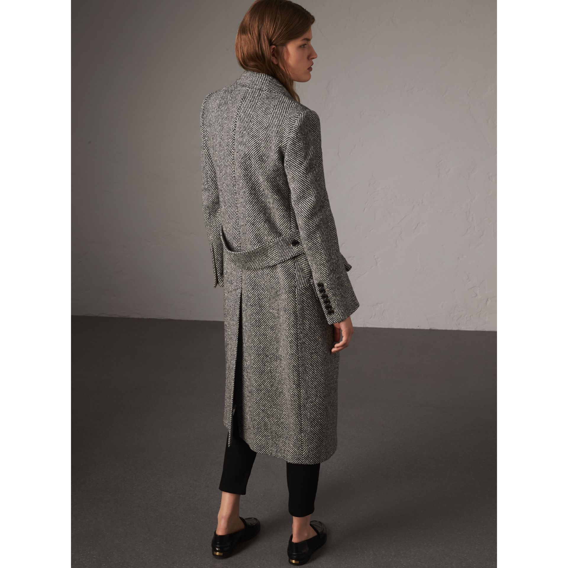 Donegal Herringbone Wool Tweed Tailored Coat in Black - Women | Burberry - gallery image 3