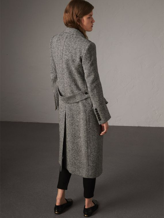 Donegal Herringbone Wool Tweed Tailored Coat in Black - Women | Burberry - cell image 2