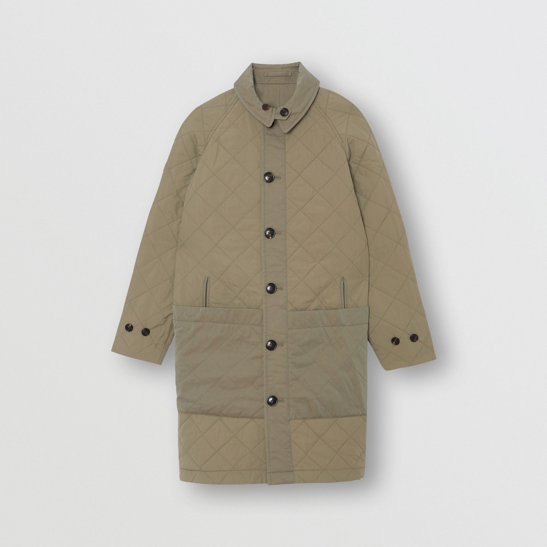 Reversible Tropical Gabardine Car Coat in Chalk Green | Burberry - gallery image 1