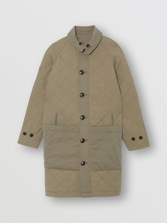 Reversible Tropical Gabardine Car Coat in Chalk Green | Burberry United States - cell image 1