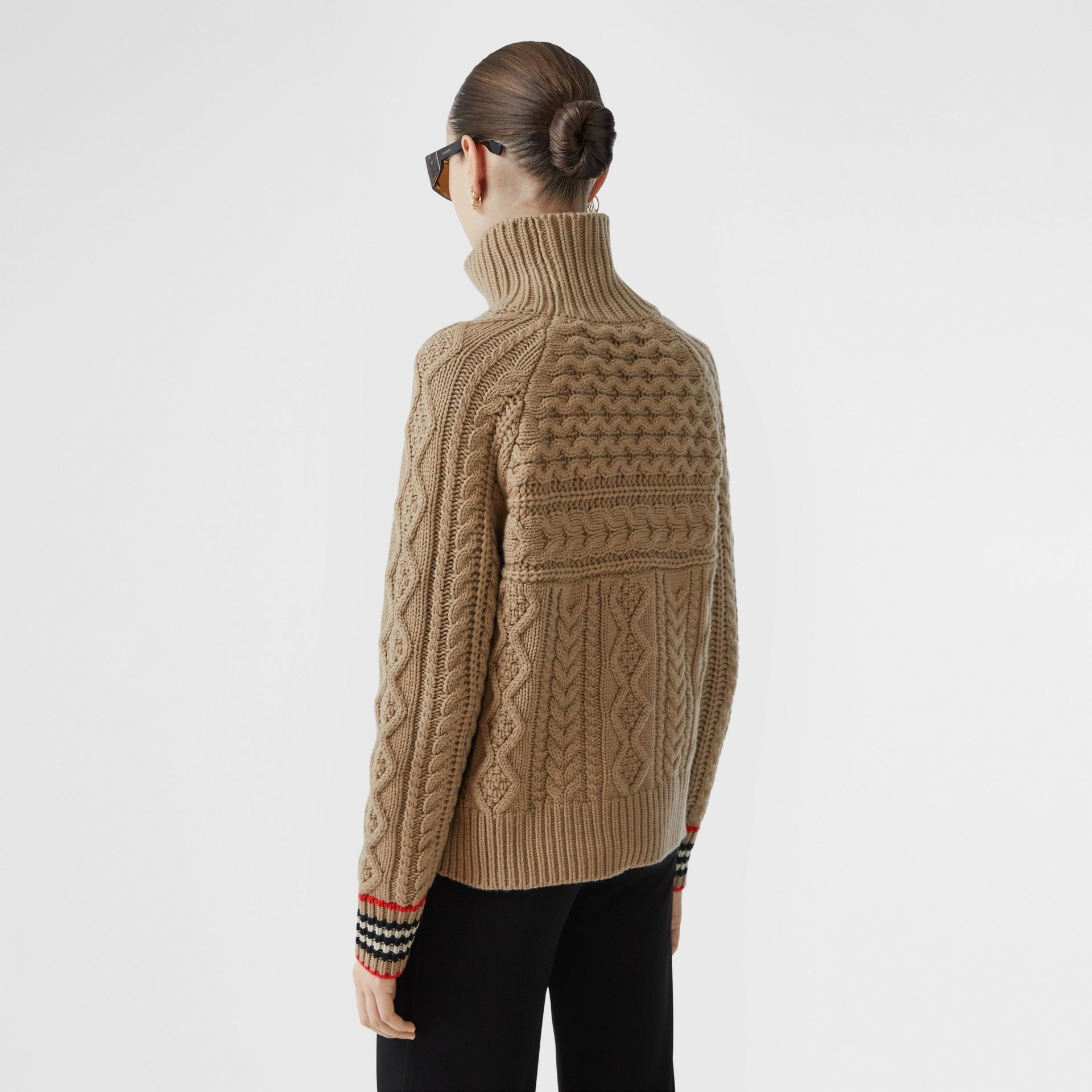Icon Stripe Cuff Cable Knit Cashmere Sweater in Camel - Women | Burberry - gallery image 2