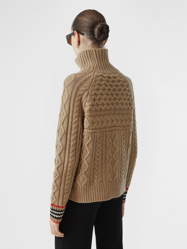 Icon Stripe Cuff Cable Knit Cashmere Sweater in Camel - Women | Burberry - cell image 2