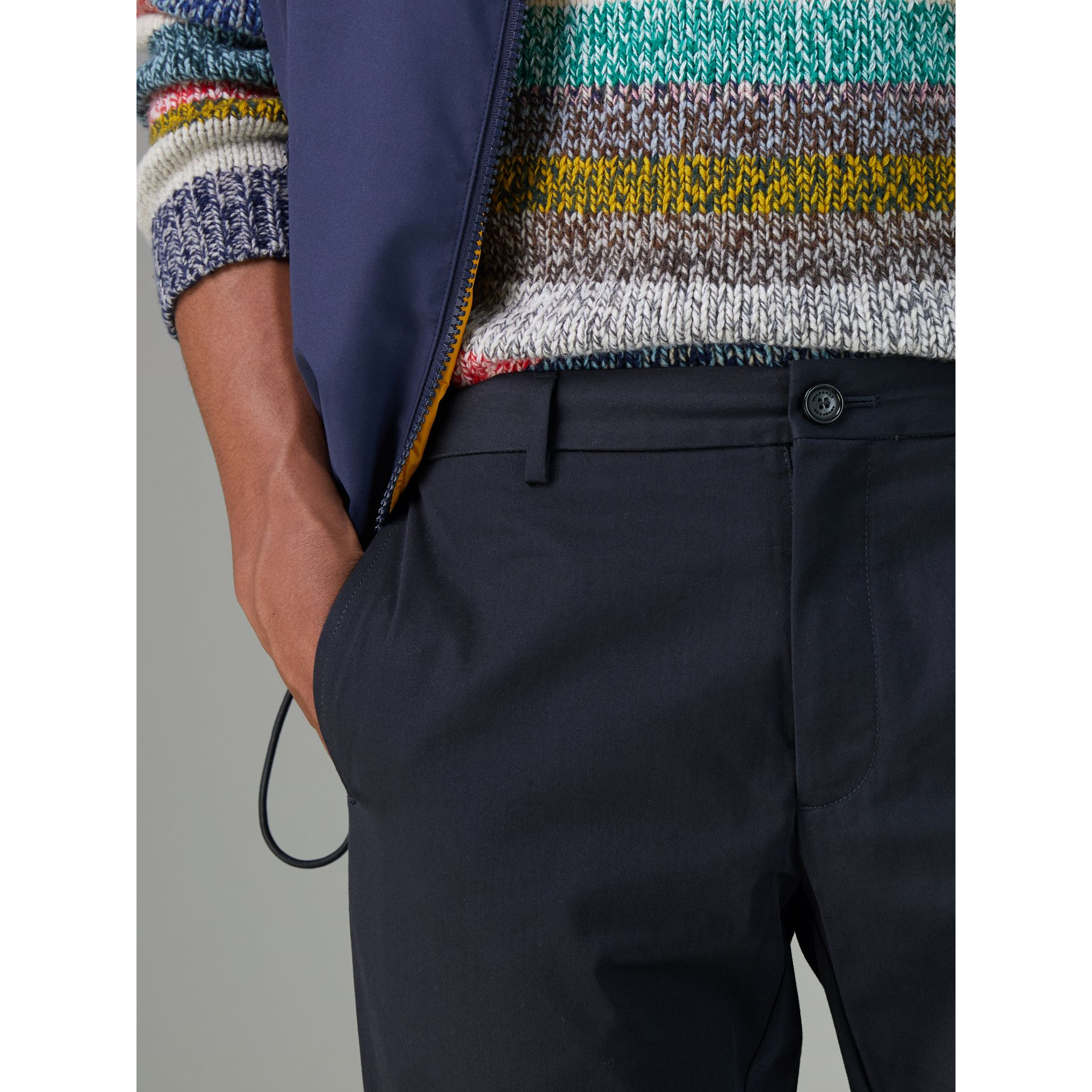 Slim Fit Cotton Chinos in Navy - Men | Burberry Canada - gallery image 1
