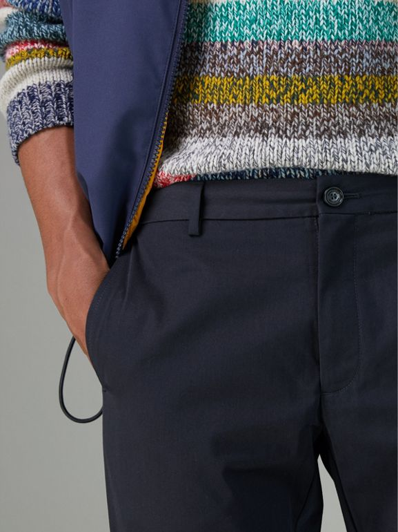 Slim Fit Cotton Chinos in Navy - Men | Burberry Singapore - cell image 1