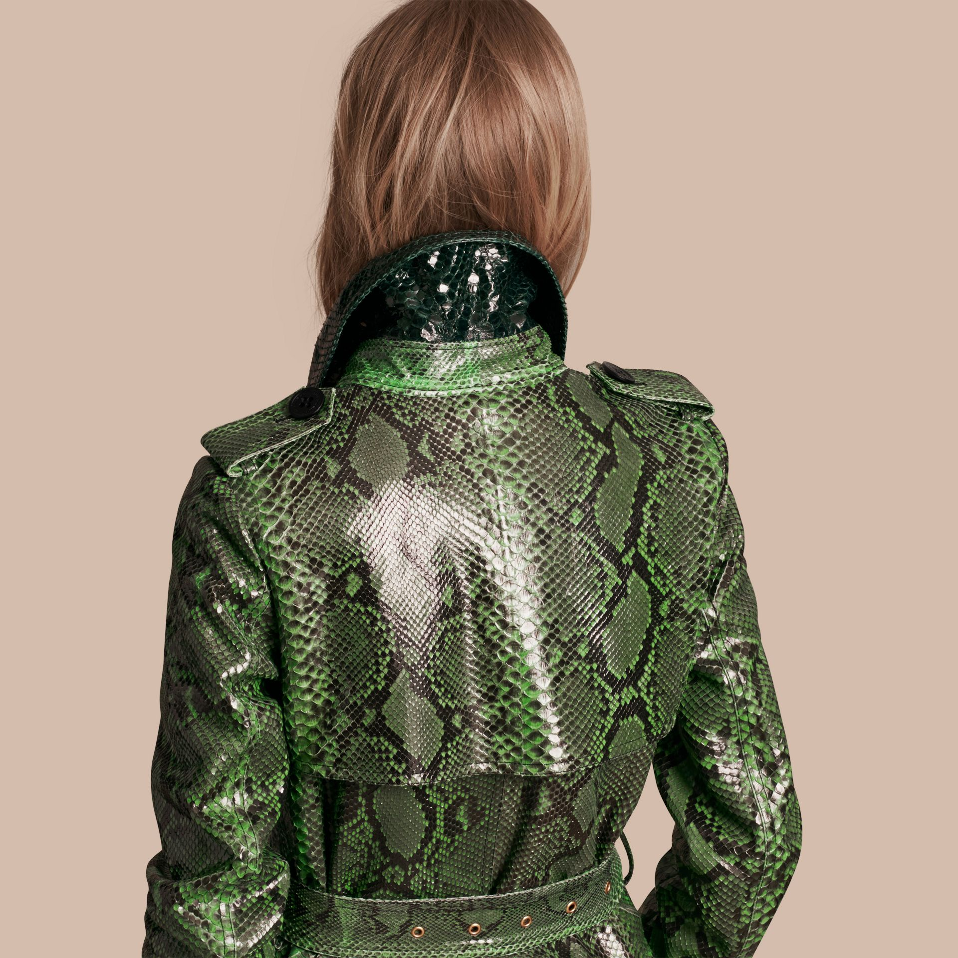 Bright green Unlined Python Trench Coat - gallery image 6