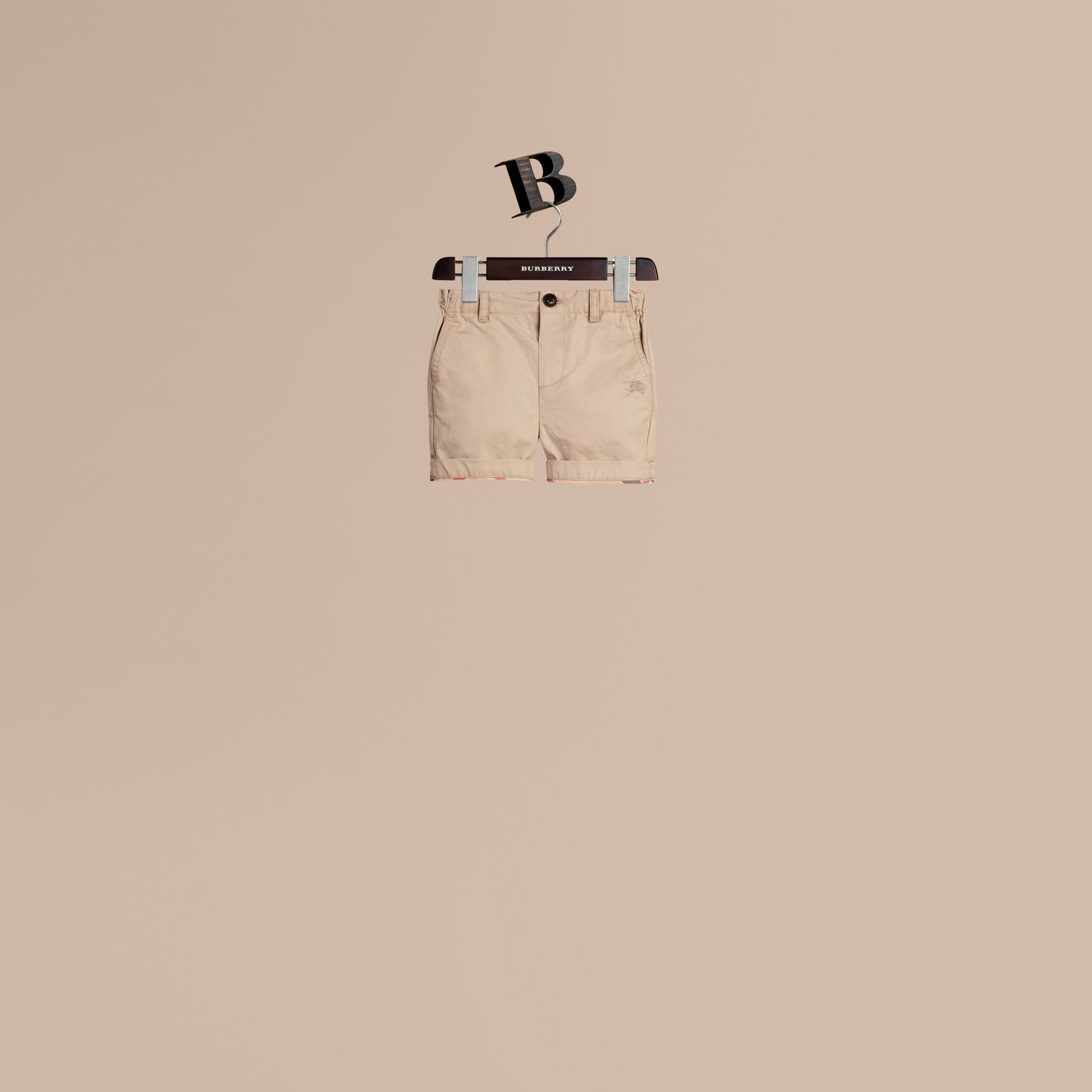 Check Detail Cotton Chino Shorts in Taupe - gallery image 1