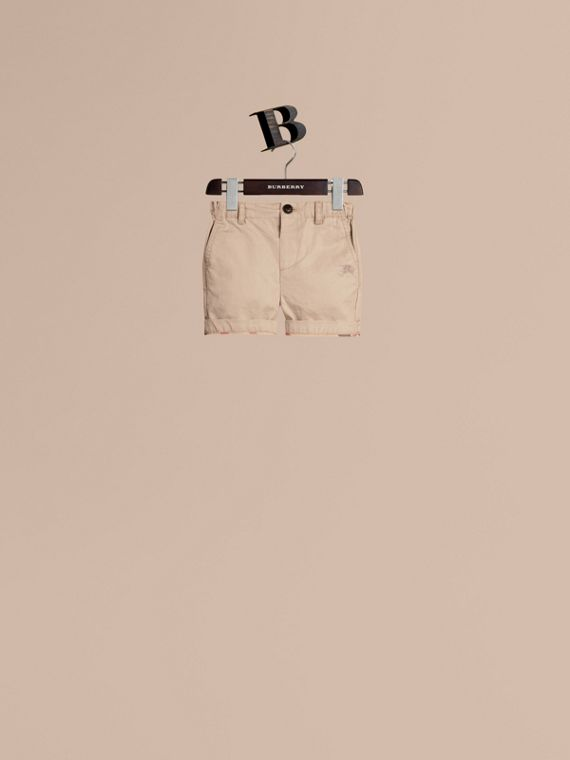 Check Detail Cotton Chino Shorts in Taupe