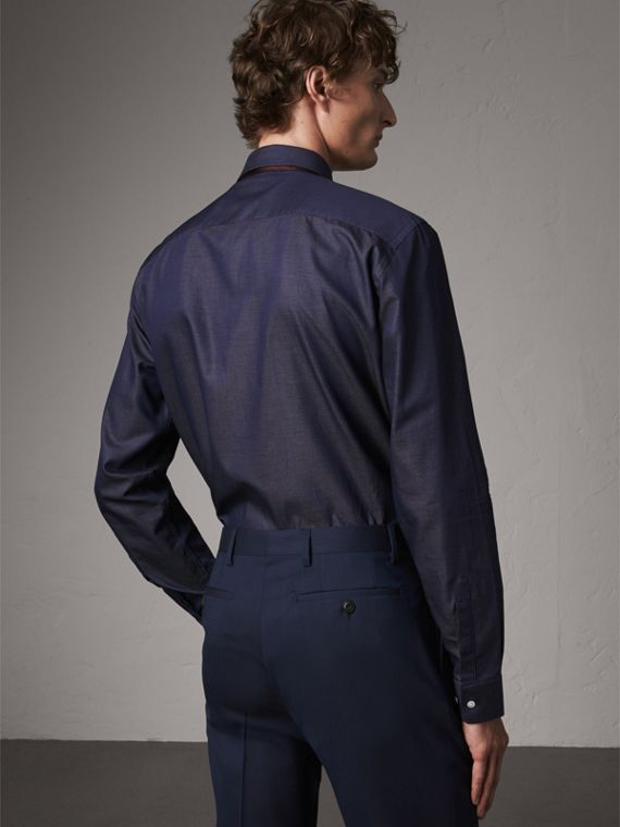 Modern Fit Pin Dot Dobby Cotton Shirt in Navy - Men | Burberry Australia - cell image 2