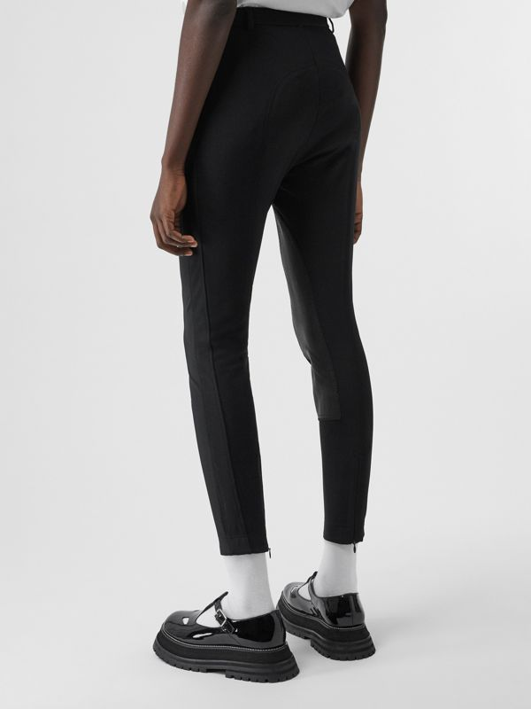 Lambskin Panel Stretch Crepe Jersey Trousers in Black - Women | Burberry - cell image 2
