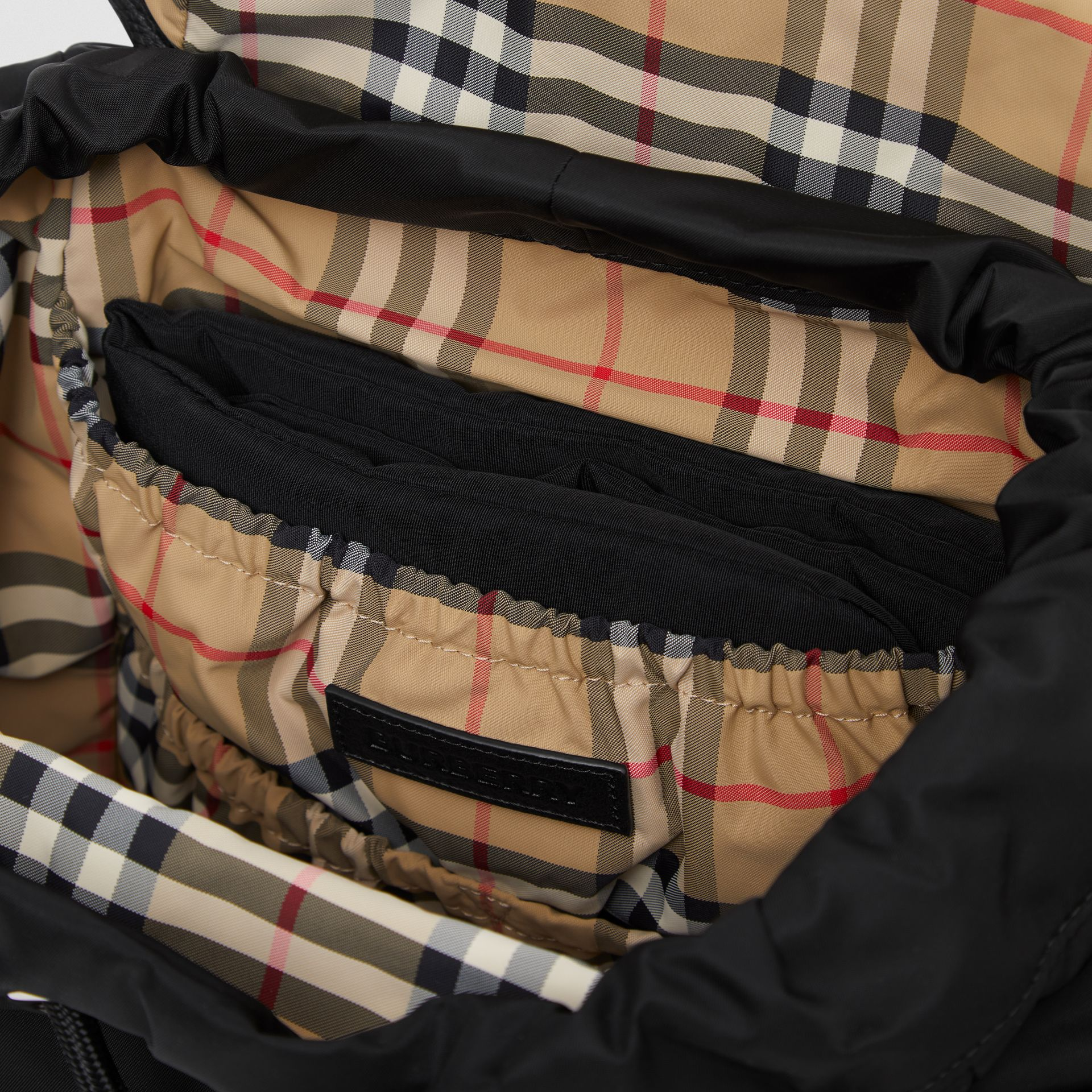 Leather Trim ECONYL® Baby Changing Backpack in Black - Children   Burberry - gallery image 3
