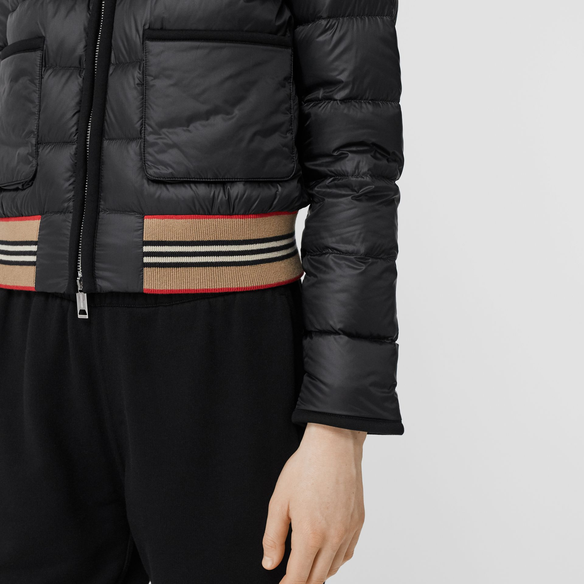 Icon Stripe Detail Down-filled Puffer Jacket in Black - Women | Burberry - gallery image 4