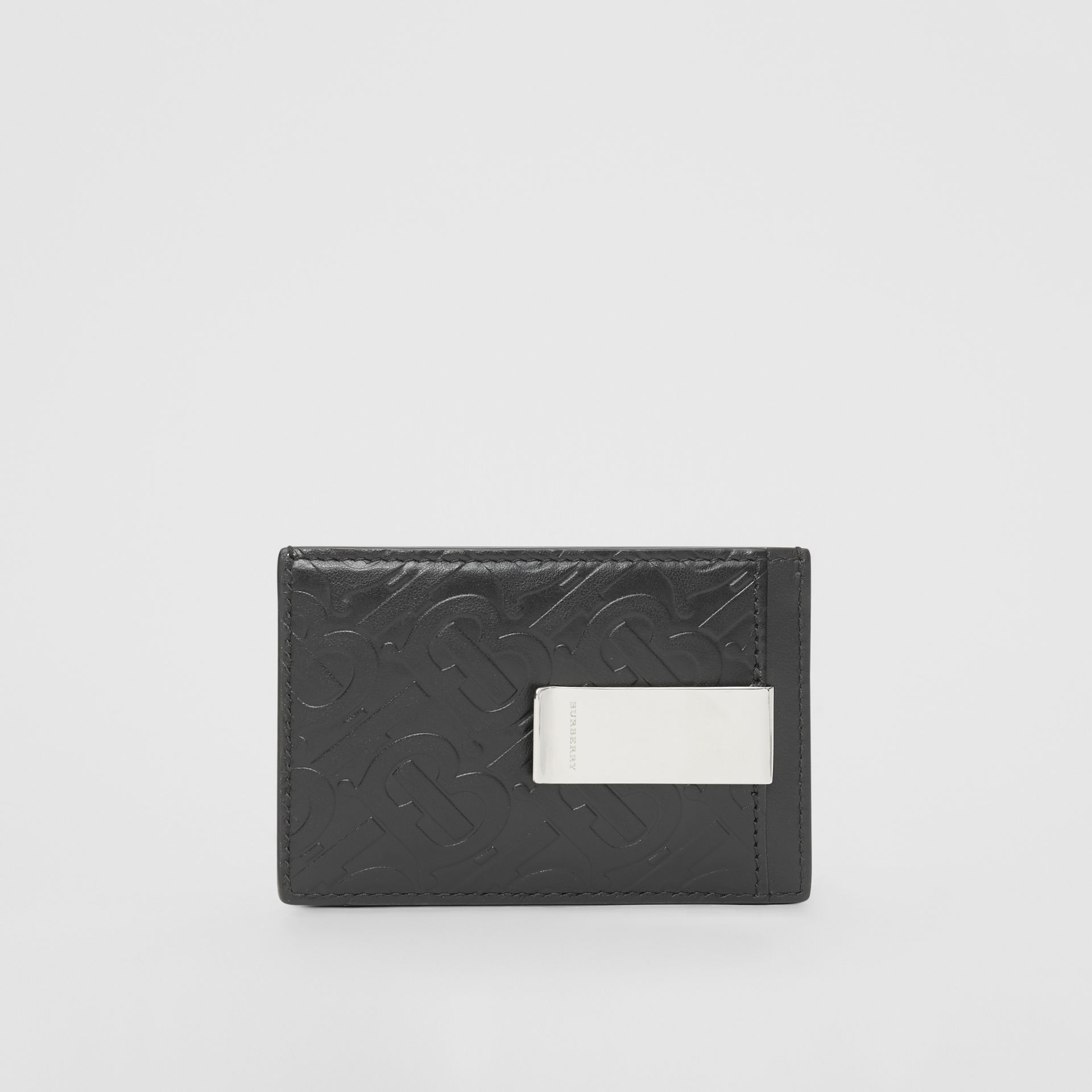 Monogram Leather Money Clip Card Case in Black - Men | Burberry United States - gallery image 4