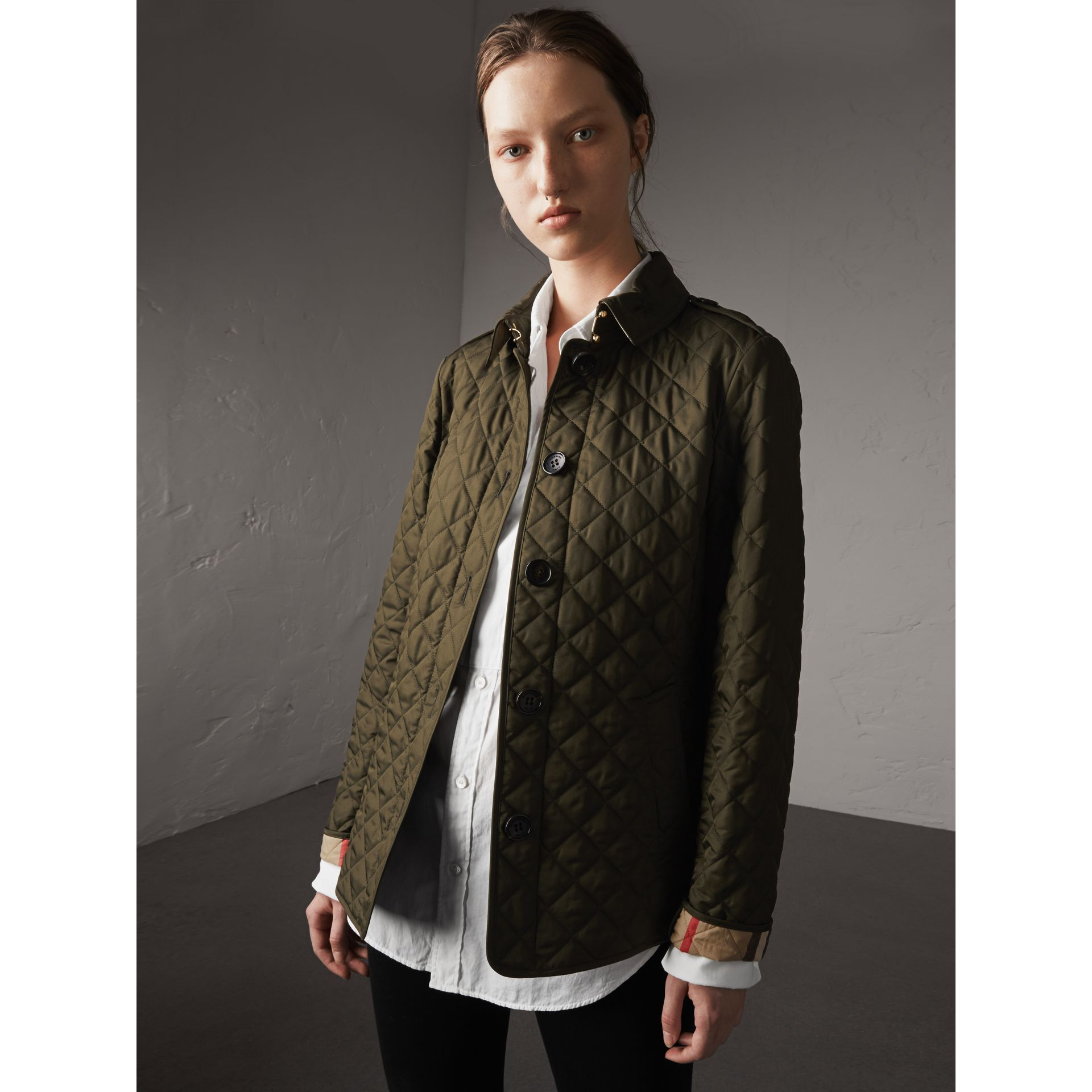 Diamond Quilted Jacket in Dark Olive - Women | Burberry Singapore - gallery image 6