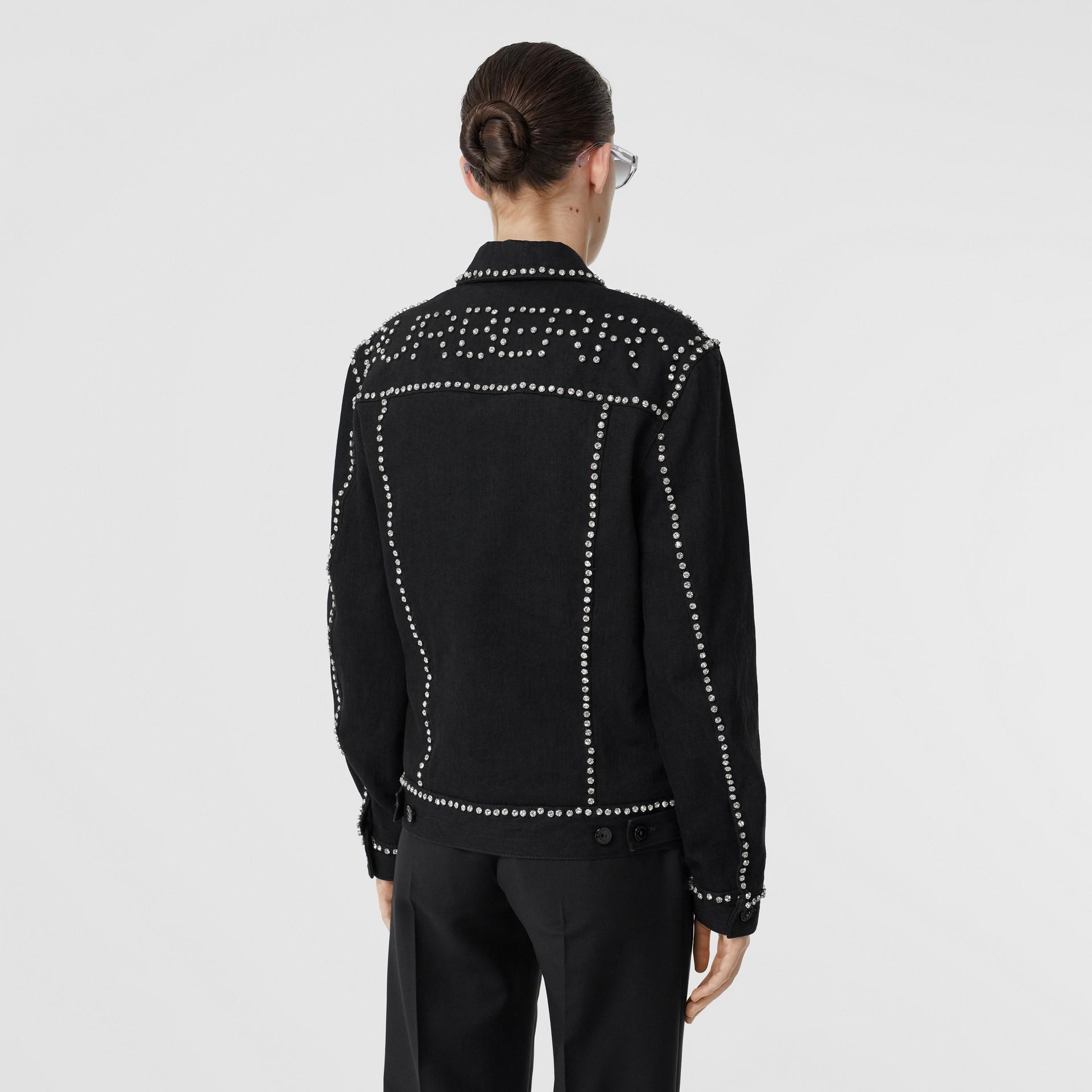 Crystal Logo Detail Japanese Denim Jacket in Black - Women | Burberry United Kingdom - gallery image 2