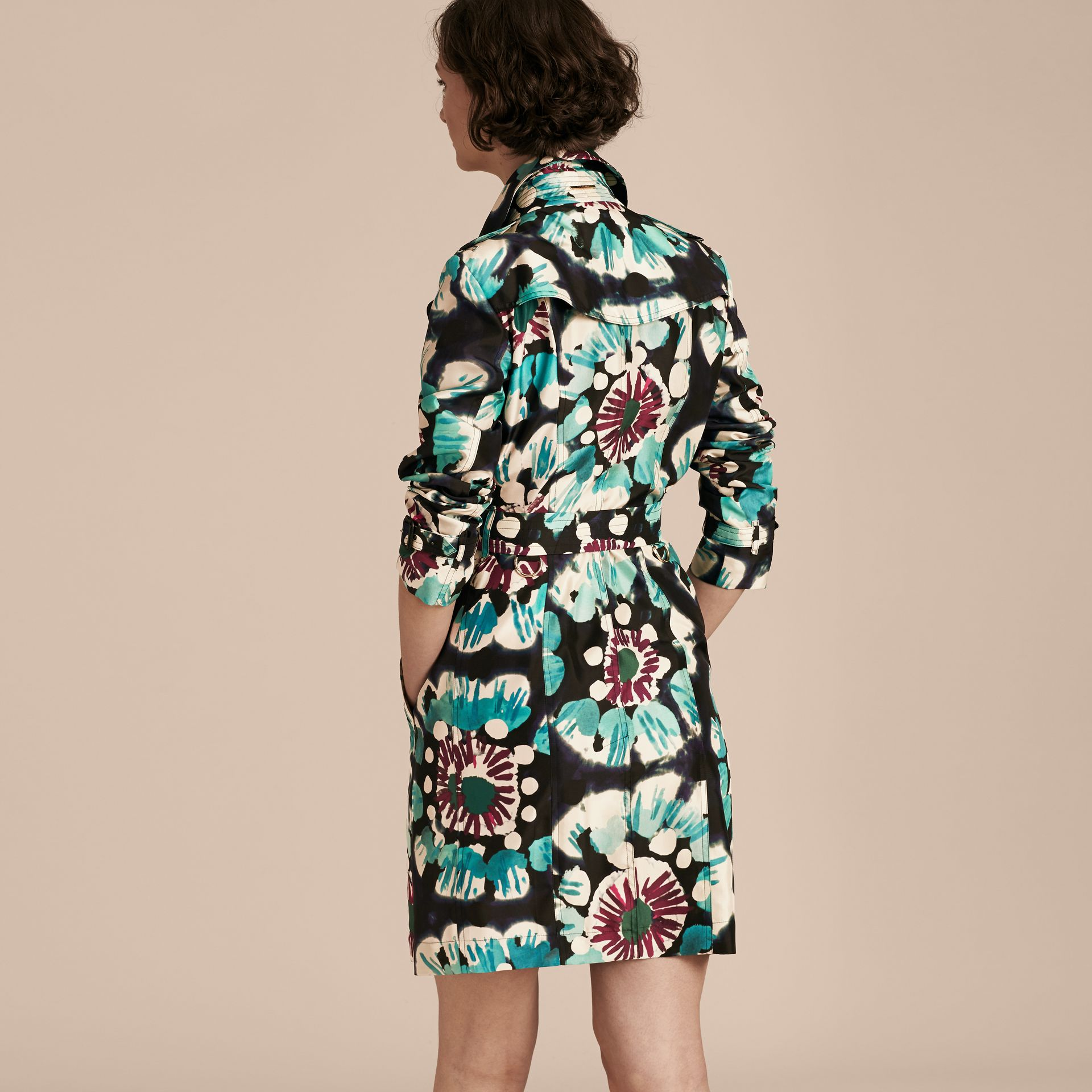 Navy Tie-dye Print Silk Trench Coat - gallery image 3