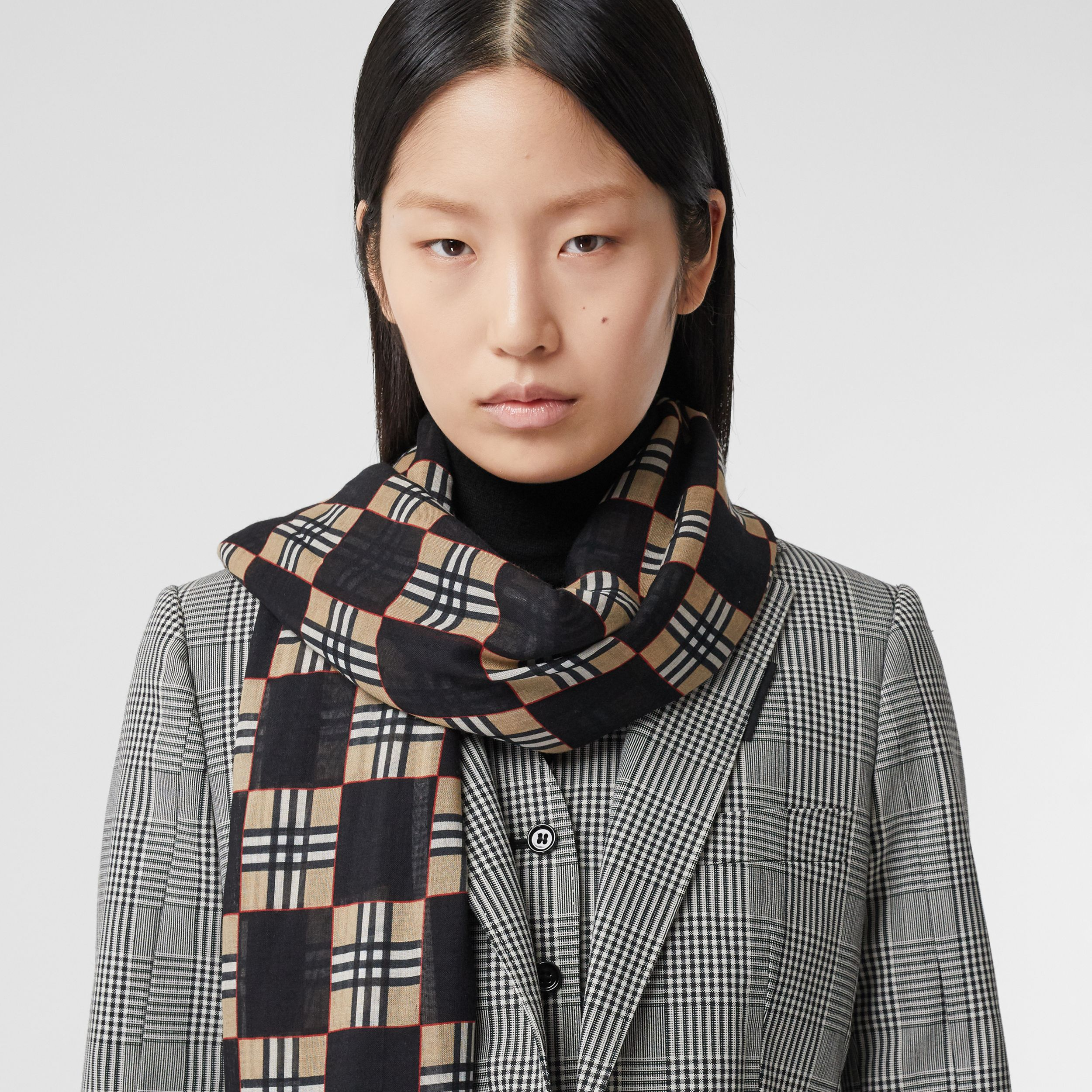 Chequer Print Wool Silk Scarf in Black | Burberry - 3