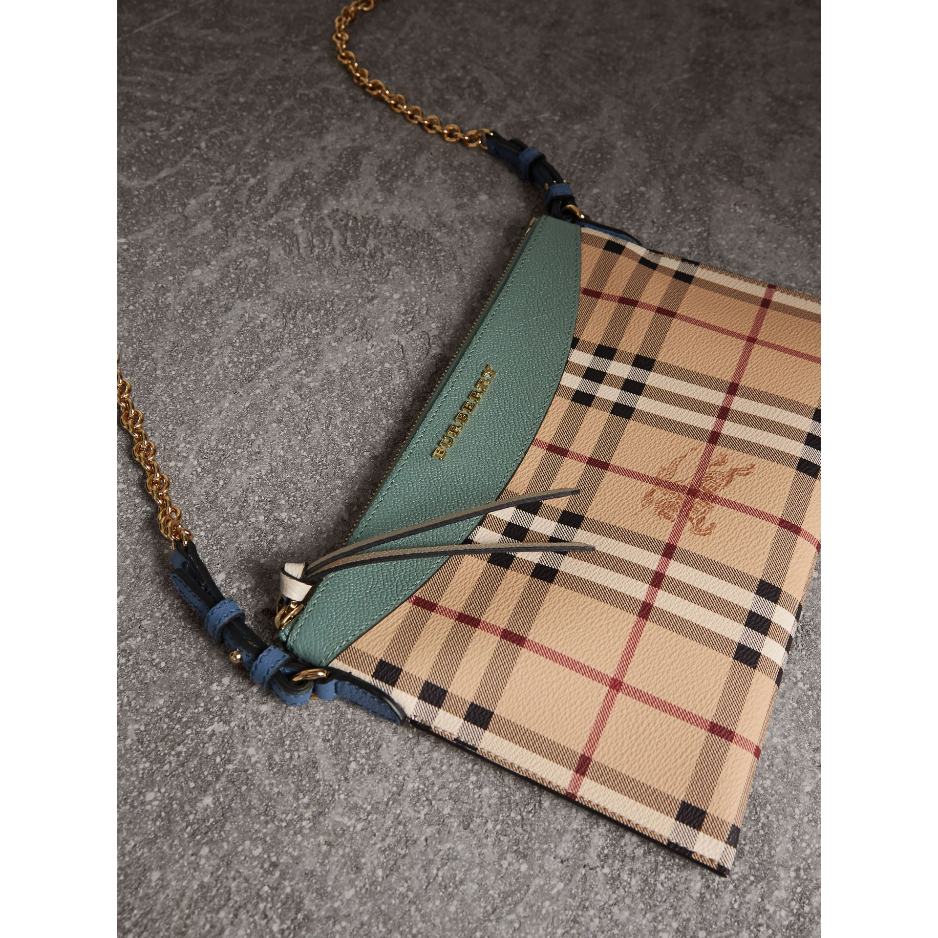 Haymarket Check and Two-tone Leather Clutch Bag in Eucalyptus Green/multicolour - Women | Burberry - gallery image 7