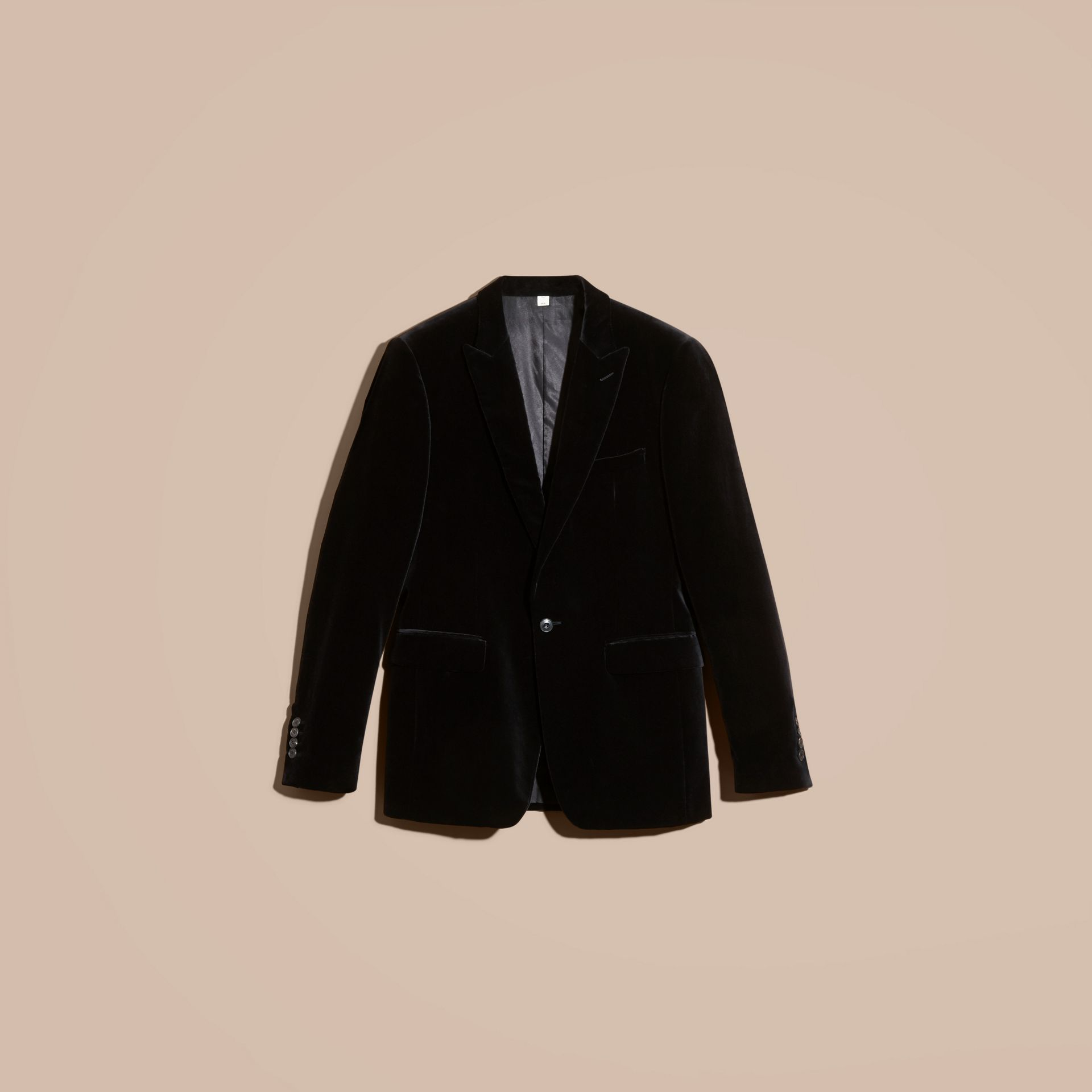 Black Slim Fit Tailored Velvet Jacket - gallery image 4