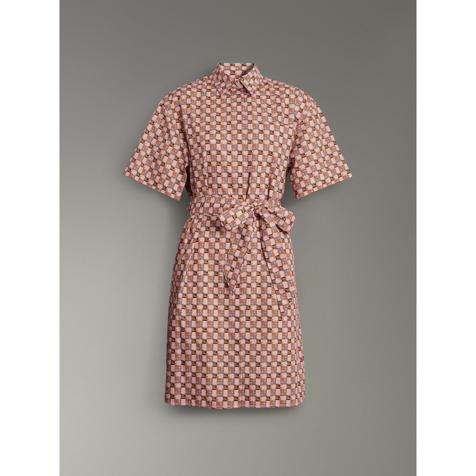 Tiled Archive Print Cotton Shirt Dress in Pink - Women | Burberry - gallery image 3