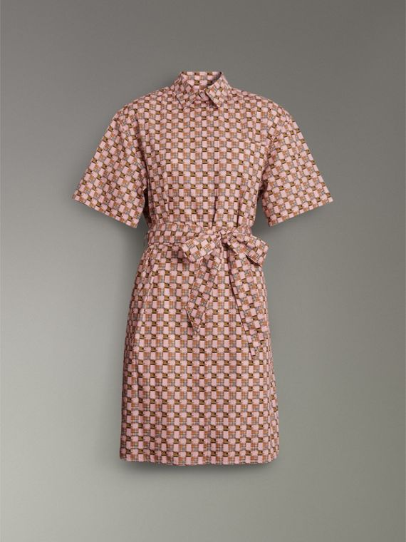 Tiled Archive Print Cotton Shirt Dress in Pink - Women | Burberry Singapore - cell image 3