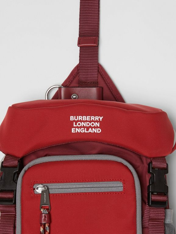 Logo Print Nylon Leo Belt Pack in Bright Red | Burberry - cell image 1
