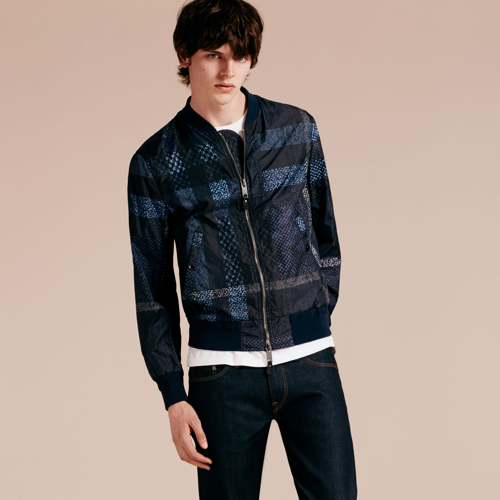 Steel blue Lightweight Check Bomber Jacket - gallery image 7