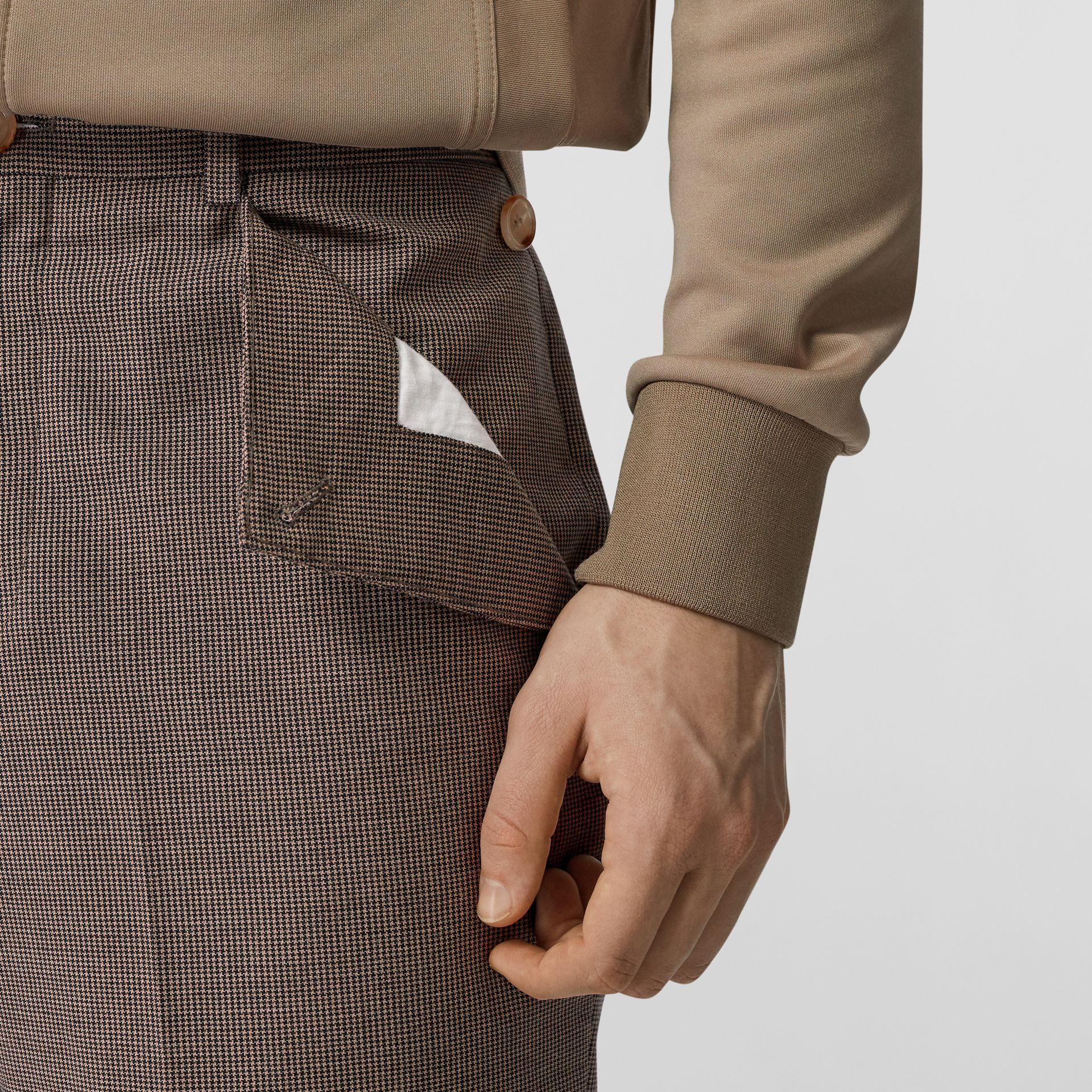 Pocket Detail Wool Tailored Trousers in Beige - Men | Burberry - gallery image 4