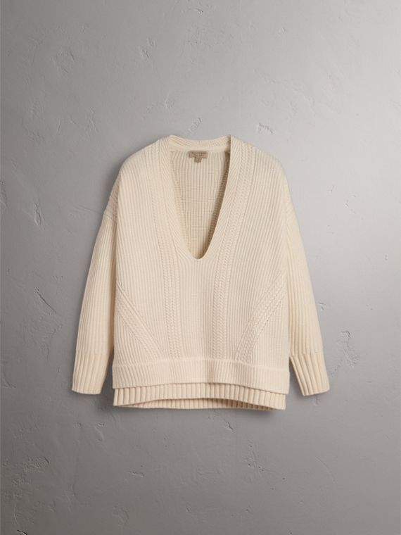 Cut-out V-neck Wool Cashmere Sweater in Natural White - Women | Burberry - cell image 3