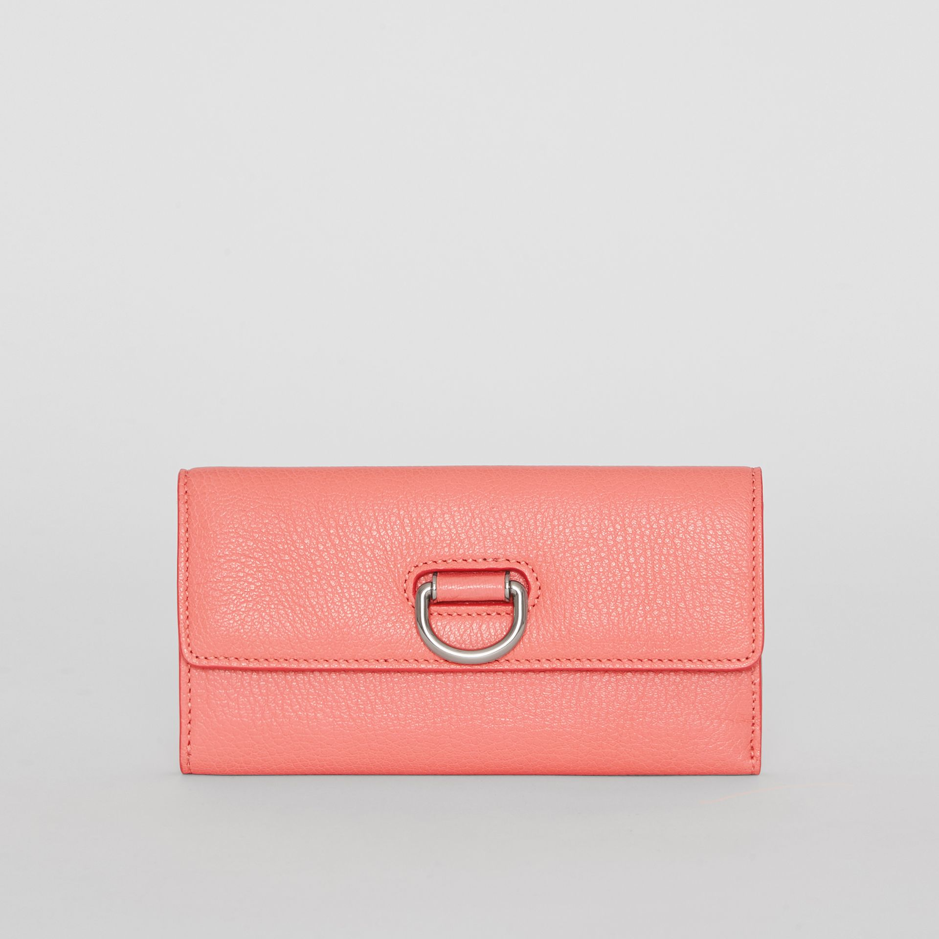 D-ring Grainy Leather Continental Wallet in Bright Coral Pink - Women | Burberry United Kingdom - gallery image 0