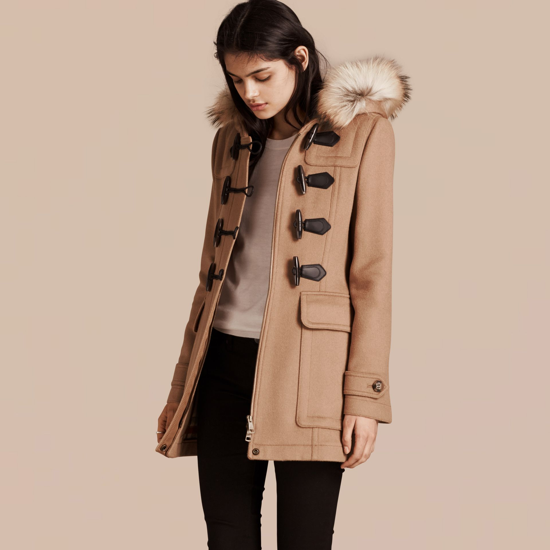 Detachable Fur Trim Wool Duffle Coat Camel - gallery image 1