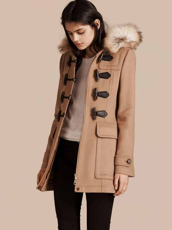 Detachable Fur Trim Wool Duffle Coat Camel