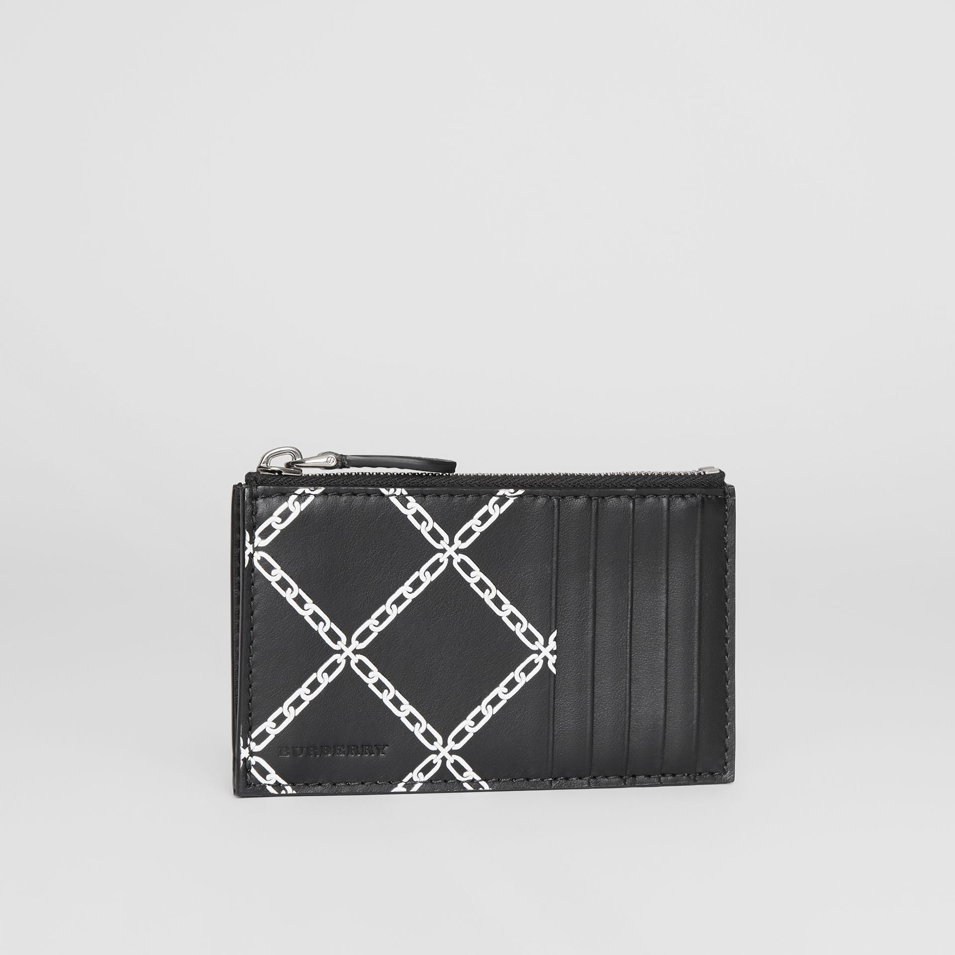 Link Print Leather Card Case in Black - Men | Burberry - gallery image 4