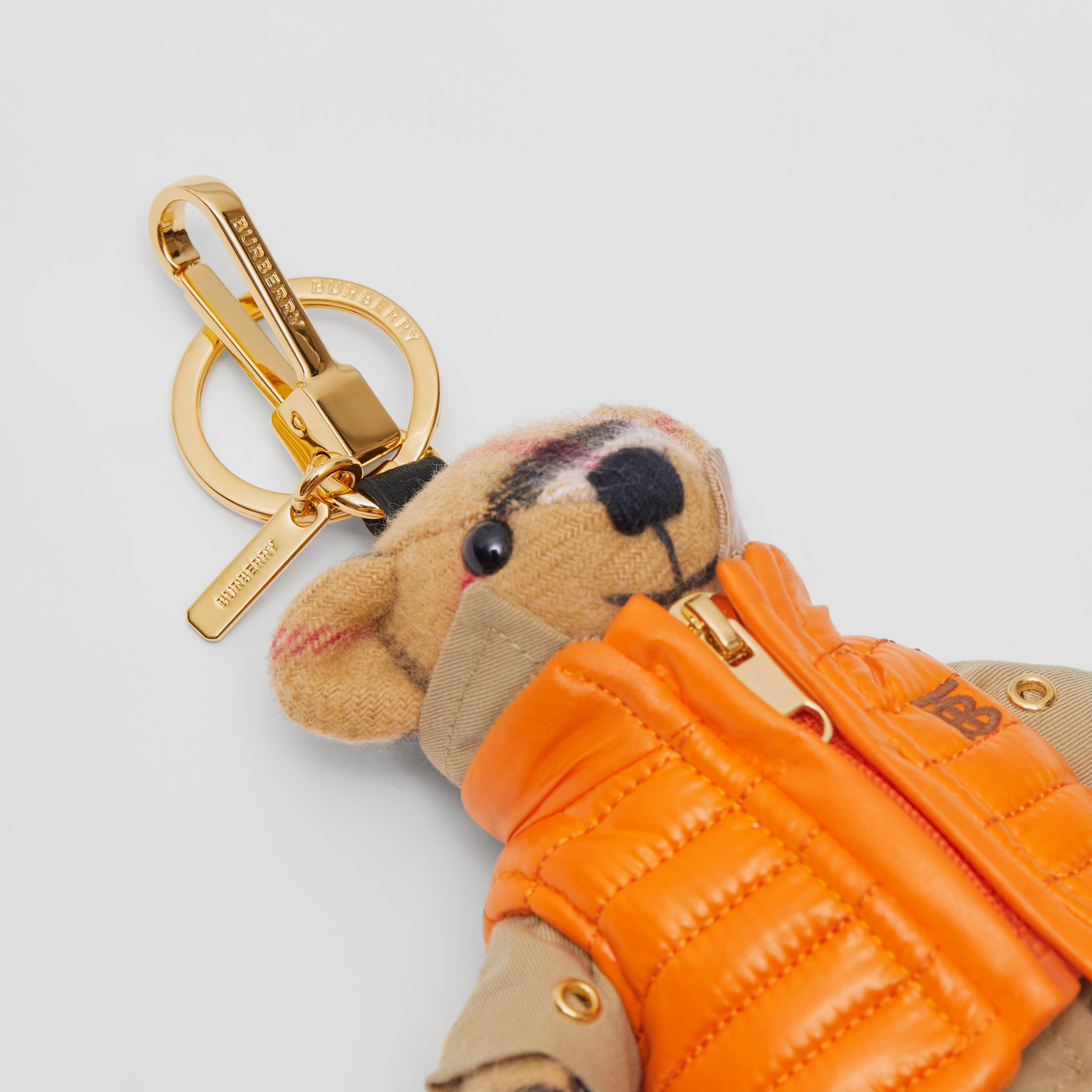 Thomas Bear Charm in Monogram Motif Gilet in Antique Yellow - Women | Burberry Australia - gallery image 1